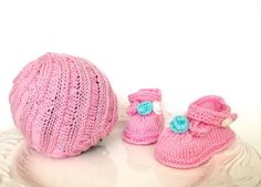 Pink knitted set for newborn baby girl  hat and by TinyLoveGifts, $29.00