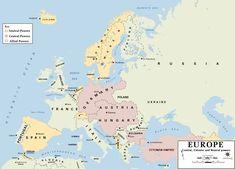 Europe 1914 - Erster Weltkrieg – Wikipedia - Die tatsächliche Kriegskonstellation in den Vorkriegsgrenzen   20160617