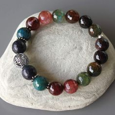 Agate crackle and sterling silver bracelet 🎁