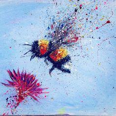 Art bee abstract splatter https://www.etsy.com/shop/cwilliamart