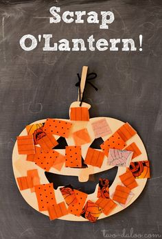 A simple invitation to create a jack o'lantern collage with fabric scraps and a wooden cutout. Great for fine motor, creativity, language development, and beginning math skills.