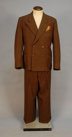 D.W. GRIFFITH S BROWN WOOL PINSTRIPE SUIT 975a1e4cc11c1