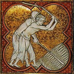 le battage du blé, Calendrier-martyrologue de l'abbaye de Saint-Germain-des-Prés , France (Paris), vers 1270