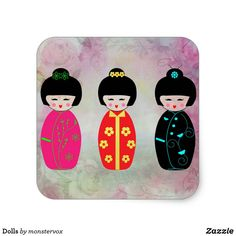 Dolls Square Sticker #Doll #Asian #Asia #Japan #Japanese #Sticker