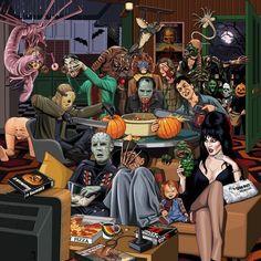 Halloween Painting, Creepy Halloween, Vintage Halloween, Happy Halloween, Halloween Party, Horror Show, Horror Art, Horror Movies, Costumes