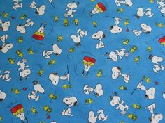 """Snoopy Cartoon Fabric: Happiness is Peanuts - Snoopy and Woodstock Blue 100% cotton Fabric by the yard 36""""x44"""" (K1) by Angelfabric on Etsy"""