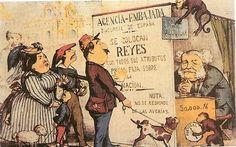 Caricatura publicada en 1870. La embajada de España es una agencia de colocación de reyes que buscan empleo. A ella acuden Isabel II con el príncipe Alfonso (como un niño pequeño), el candidato carlista (con la boina roja) o el duque de Montpensier (acompañado de un perrito)