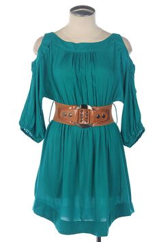 The Texas Cowgirl - Turquoise Peek A Boo Shoulder Belted Dress, $34.95 (http://www.thetexascowgirl.com/turquoise-peek-a-boo-shoulder-belted-dress/)