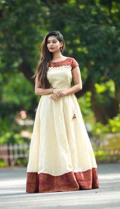 Innovative Ideas to make long gown dresses from o ld saree - Kurti Blouse Lehenga Designs, Kurta Designs, Blouse Designs, Kalamkari Dresses, Ikkat Dresses, Long Gown Dress, Saree Dress, Long Dresses, Long Gowns