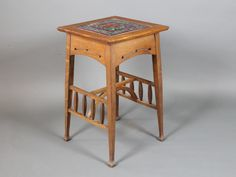 Lot No 810 A Liberty style Arts & Crafts square oak occasional table with tiled top, raised on square tapering supports united by an H framed stretcher, sold Antique Auctions, December 2013, Hall Tables, Arts And Crafts, Woodworking, Fine Art, Antiques, Liberty, Highlights