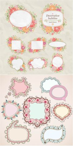 """Vector cartoon style frames 2 sets with 16 decorative vector cartoon style frames and speech bubbles with flowers and floral elements. Format: EPS stock vector clip art and illustrations. Free for download. Set name: """"Cartoon style frames"""" for Adobe Illustrator. Theme tags: ornaments, speech…"""