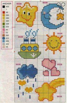 "Beach border for ""Baby"" Baby Cross Stitch Patterns, Cross Stitch For Kids, Cross Stitch Baby, Baby Knitting Patterns, Cross Stitch Designs, Cross Stitch Boards, Le Point, Canvas Patterns, Cross Stitching"