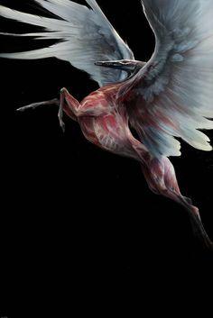 Phenomenal, macabre monster art by Naomi Chen Dark Creatures, Fantasy Creatures, Mythical Creatures, The Crow, Creature Concept Art, Creature Design, Fantasy Kunst, Fantasy Art, Matte Painting