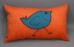 Orange Decorative Pillow with Bird Design by LenkArt on Etsy