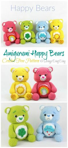 Amigurumi Happy Bears Crochet Free Pattern- Free Toy Softies Crochet Patterns to make Crochet toys Amigurumi Happy Bears Crochet Free Pattern - Crochet & Knitting Crochet Teddy, Crochet Bear, Cute Crochet, Knitting Bear, Crotchet, Free Knitting, Crochet Pattern Free, Crochet Patterns Amigurumi, Knitting Patterns
