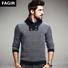 Autumn Men's Fashion Sweaters Patchwork Knitted Clothing Slim Fit Pullovers Knitting Clothes on AliExpress