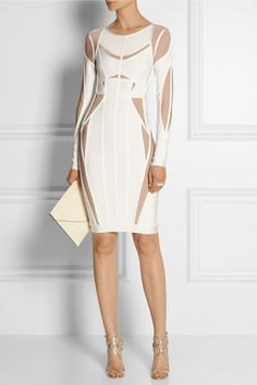 Hervé Léger | Angelique two-tone bandage dress | NET-A-PORTER.COM.. I love this out of the norm design. I love it when you allow yourself to feel exciting and eccentric using only a single article of clothing.