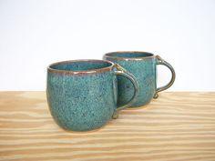 Sea Mist Stoneware Ceramic Coffee Cups - Set of 2. $40.00, via Etsy.