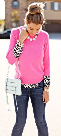 d243e8e8c1 Love the printed blouse with the popping pink sweater. A Little Dash of  Darling  pink sweater  black and white hearts blouse