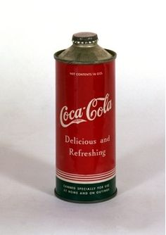 One of the most desirable soda cans ever produced. Coca Cola came out with three cone top variations in Although likely produced as test cans, there are some who think they may have been used on airline flights of the period. Vintage Coca Cola, Coca Cola Can, Always Coca Cola, World Of Coca Cola, Coca Cola Bottles, Pepsi Cola, Soda Bottles, Vintage Menu, Vintage Tools
