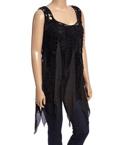 This Black Sheer Crochet Handkerchief Tunic - Plus by Simply Irresistible is perfect! #zulilyfinds