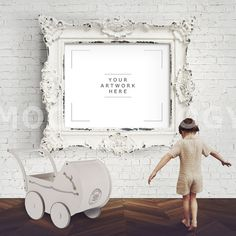 8x10 Horizontal Frame Mockup White Baroque Frame by Mockupology