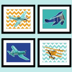 Boys airplane nursery art  vintage airplanes  by PaperLlamas, $40.00