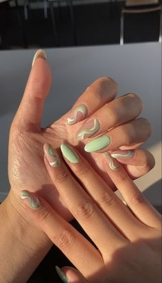 Cute Gel Nails, Funky Nails, Pretty Nails, Nagellack Trends, Fire Nails, Minimalist Nails, Nagel Gel, Best Acrylic Nails, Acrylic Nails Green
