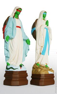 Soasig Chamaillard   Détournement Statue Sainte Vierge   T.M.N.T.