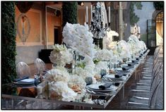 White Feasting Table Flowers by Jeff Leatham