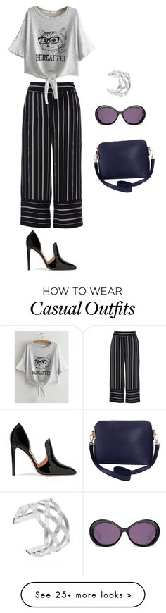 """""""Wide leg pants: casual chic."""" by violetluvli0987 on Polyvore featuring River Island, WithChic, Gianvito Rossi, Heidi London and Humble Chic"""