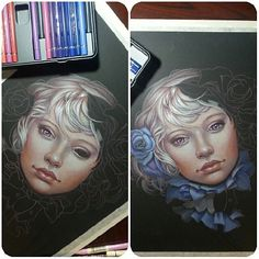 Beautiful girl sketch #drawing colored pencils #realistic black paper #flowers,  Jennifer Healy Art