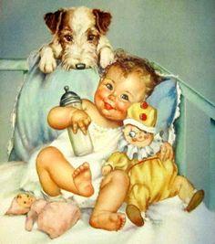 charlotte becker baby - dog litho print reminds me of owen! Vintage Baby Pictures, Images Vintage, Baby Images, Cute Pictures, Posters Vintage, Vintage Postcards, Vintage Prints, Reborn Babypuppen, Litho Print