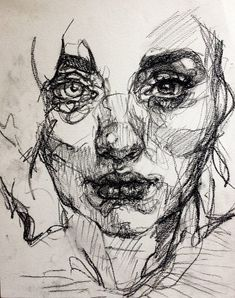 Drawing created using charcoal. Continuous line drawing capturing the features off her face. Different charcoal weights to highlight light and dark.                                                                                                                                                     Mais