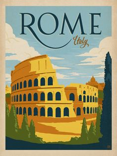 Italy: Rome - Our latest series of classic travel poster art is called the WorldTravel Poster Collection. We were inspired by vintage travel prints from the Golden Age of Poster Design (a glorious period spanning the late-1800s to the mid-1900s.) So we set out to create a collection of brand new international prints with a bold and adventurous feel.<br />