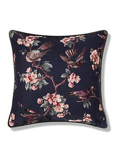 Blue Mix Small Birds Print Cushion