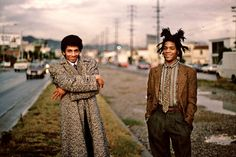"""""""Jean-Michel Basquiat and Rammellzee exiting Maxfield, Los Angeles, 1982,"""" a photograph taken by Stephen Torton, who helped Rammellzee, left, mount several early exhibitions."""