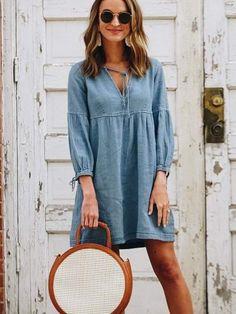 Stylish Dresses, Women's Fashion Dresses, Casual Dresses, Women's Evening Dresses, Cardigan Fashion, Long Sleeve Mini Dress, Types Of Fashion Styles, Jeans, Size Chart