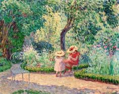 Henri Lebasque (1865-1937.)  In the Garden at Montévrain.  Circa 1902-1903.  Oil on canvas.  Height: 60.1 cm (23.66 in.), width: 73 cm (28.74 in.)  Private collection   -  - The Athenaeum