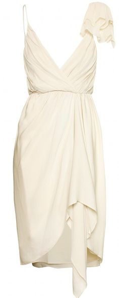 Nude toned silk-crepe draped dress with spaghetti straps and asymmetrical shoulder detail.
