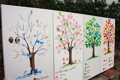 Thumbs Up!  fingerprint art auction project. Students' birthdays determines which tree they sign. I would make all four season's on one canvas.