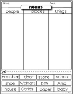 The Lesson Plan Diva: Freebies Types of nouns sorting activity: person, place, or thing