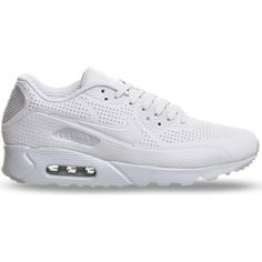 NIKE Air Max 90 Ultra Moire faux-leather trainer ($160) ❤ liked on Polyvore featuring shoes, sneakers, phantom white, perforated sneakers, white trainers, faux leather sneakers, round cap and faux leather shoes
