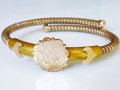 Victorian Coil Bracelet Gold Filled Floral Aesthetic Nature Stacking Bangle Antique Jewelry by zephyrvintage on Etsy