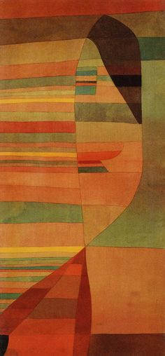 Paul Klee, Orpheus, 1929. Oil & watercolour on fabric (silk or cotton) mounted on wood.