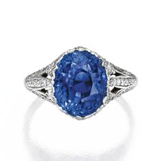 Platinum, Sapphire and Diamond Ring, Marcus & Co. | lot | Sotheby's