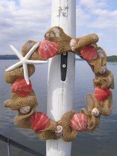 @Ashley LaFata  BURLAP BEACH WREATH, beach decor, seashell wreath, nautical wreath, bright orange/coral. $45.00, via Etsy.