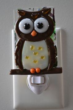 Barn Owl Fused Glass Night Light by MCBGlassStudio on Etsy