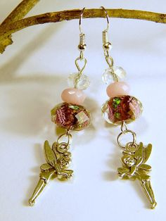 Pink Tinkerbell Fairy Charm Earrings with by MURPHYSTREASURES2, $14.95