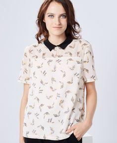 Top ivoire imprimé 'birdy' à col chemise One Step